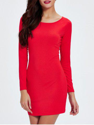 Long Sleeve Ribbed Solid Color Skinny Women s Dress