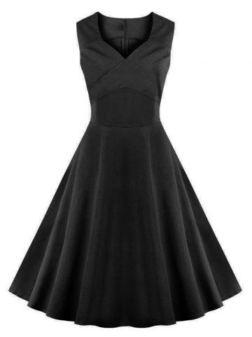 Vintage Going Out Flare Cocktail Dress - BLACK 4XL