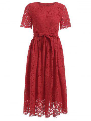 Cheap Belted High Waisted Midi Lace Dress