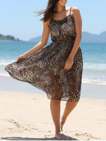 Cheap Wild Style Leopard Print Cami Dress