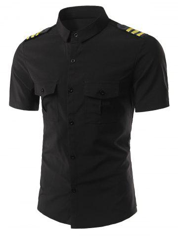 Outfits Turn-Down Collar Stripe Epaulet Design Short Sleeve Shirt For Men