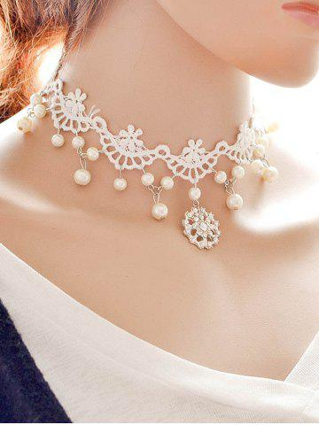 Affordable Rhinestone Lace Wedding Jewelry Choker - WHITE  Mobile