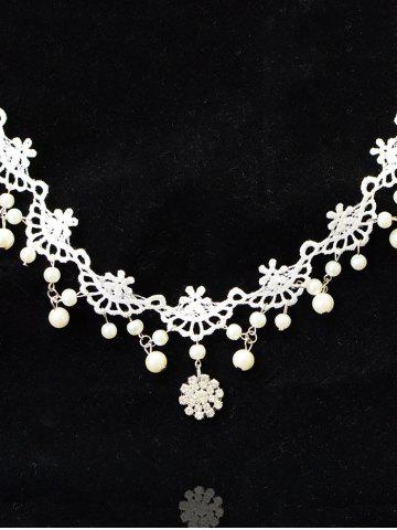 Best Rhinestone Lace Wedding Jewelry Choker - WHITE  Mobile