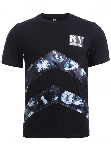 BoyNewYork Floral Applique Spliced T-Shirt - Black - S