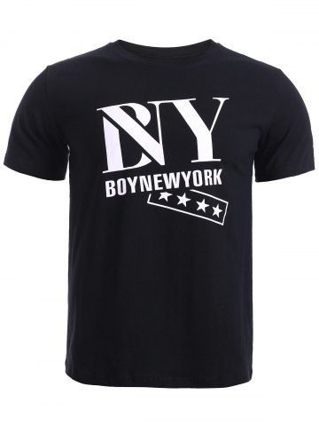 Fancy BoyNewYork Star Printing Solid Color T-Shirt BLACK XL