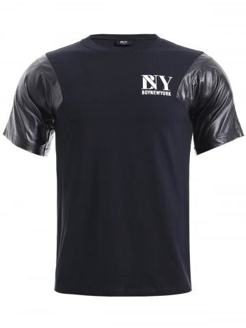 Latest BoyNewYork PU Leather Splicing T-Shirt BLACK XL
