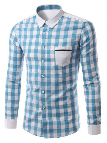 Fashion Plaid Pattern Pocket Splicing Turn-Down Collar Long Sleeve Shirt For Men LIGHT BLUE XL