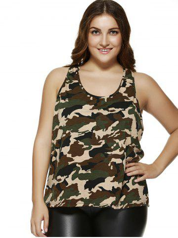 New Plus Size Camo Printing Racerback Tank Top CAMOUFLAGE 4XL