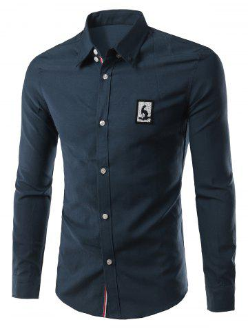 New Turn-Down Collar Appliuque Long Sleeve Shirt For Men