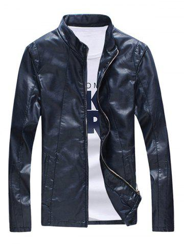 Zipper Sleeve Seamed Stand Collar Faux Leather Jacket For Men