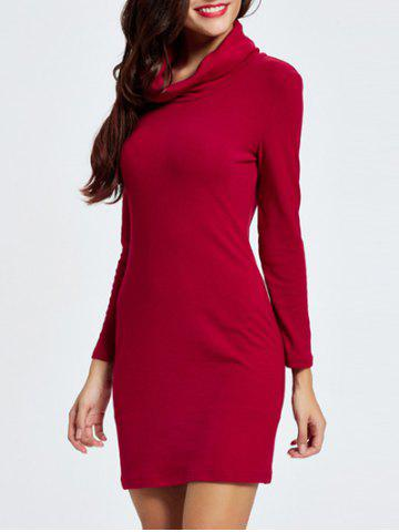 Best Cowl Neck Mini Long Sleeve Bodycon Dress DEEP RED 2XL