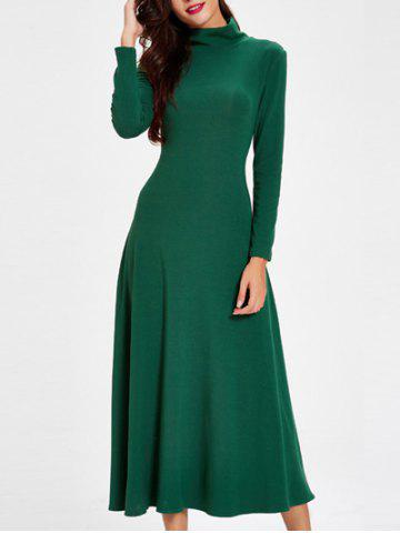 Outfit Trendy Turtle Neck Cut Out Solid Color Women's Dress