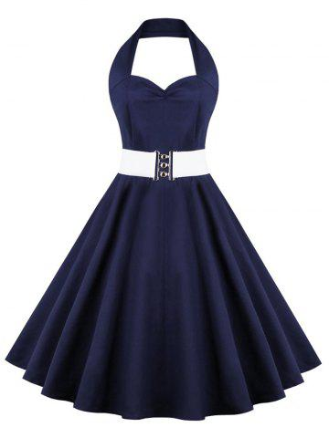 Affordable Retro Halter Sweetheart Neck Ball Party Skater Dress PURPLISH BLUE S
