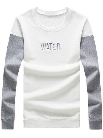 Plus Size Letter Embroidered Color Block Spliced Round Neck Long Sleeve Sweatshirt For Men