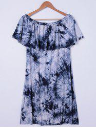 Tie Dye Off The Shoulder Casual Dress - WHITE AND BLACK XL