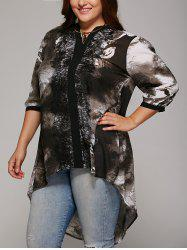 Plus Size Lace Spliced High Low Blouse - COLORMIX