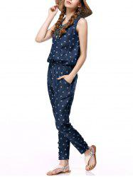 Women's Sleeveless Beaded Denim Jumpsuit -