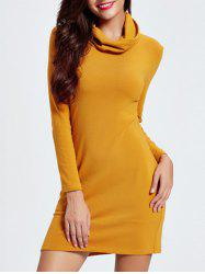 Cowl Neck Mini Long Sleeve Bodycon Dress - EARTHY