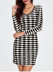 V-Neck Long Sleeved Abstract Striped Slimming Dress - BLACK 2XL