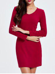 Trendy Solid Color Skinny Slimming Women's Dress - DEEP RED 2XL