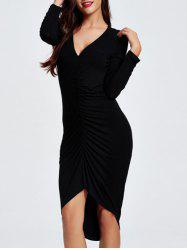 Plunging Neck Asymmetrical Jersey Dress