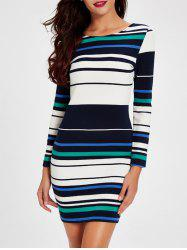 Charming Double-Wear Zipper Design Striped Women's Dress