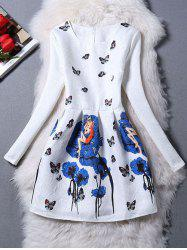 Charming Butterfly Pattern Zippered Dress - BLUE XL