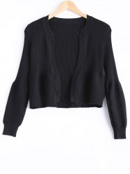 Cute Puff Sleeve Ribbed Cardigan For Women -