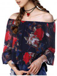 Chic Off The Shoulder Bell Sleeve Floral Print Women's Blouse -