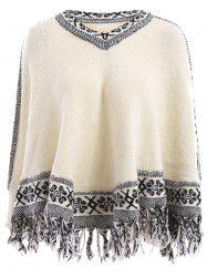 Stylish V-Neck Jacquard Tassel Spliced Long Sleeve Sweater For Women - OFF-WHITE