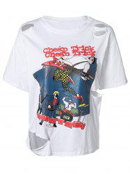 Ripped Cartoon Printed T-Shirt -