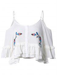 Embroidery Cut Out Flounce Blouse -
