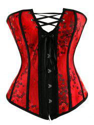 Alluring Women's Floral Print Lace-Up Skinny Corset - RED WITH BLACK