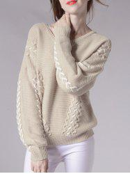 Drop Shoulder Chervon Wave Line Sweater - BEIGE