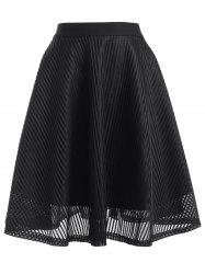 High Waisted Stripe See-Through A Line Skirt -