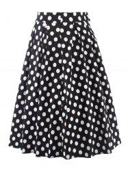 Vintage Polka Dot Print High Waisted Long Skirt - BLACK