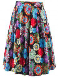 Vintage Fireworks Flower Print High Waisted Long Skirt - COLORMIX