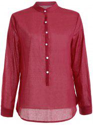 Long Sleeve Button Linen Shirt -