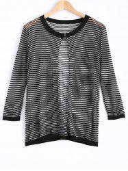 Gauzy Striped Textured Knitted Cardigan For Women -
