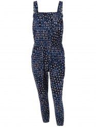 Stylish Women's Pocket Abstract Print Tie Jumpsuit -