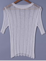 Scoop Neck Solid Color Short Sleeves Sweater -