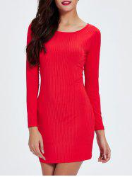 Ribbed Knit Long Sleeve Bodycon Dress - RED