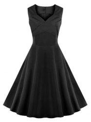 Vintage Sweetheart Collar Flare Cocktail Dress - Noir