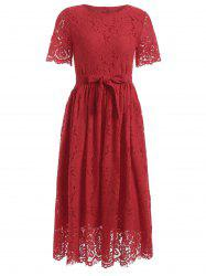 Belted High Waisted Midi Lace Dress -