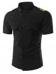 Turn-Down Collar Stripe Epaulet Design Short Sleeve Shirt For Men -
