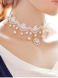 Rhinestone Lace Wedding Jewelry Choker - WHITE