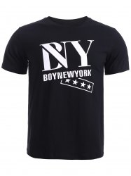 BoyNewYork Star Printing Solid Color T-Shirt