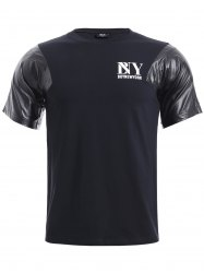 BoyNewYork PU Leather Splicing T-Shirt
