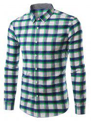 Plaid Pattern Turn-Down Collar Long Sleeve Shirt For Men