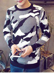 Camo Pattern Round Neck Long Sleeve Sweater For Men -